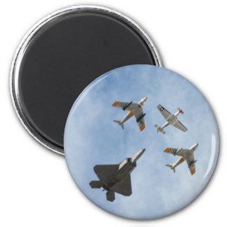 Heritage - P-51 Mustang,F-86-F Saber,F-22A Raptor 6 Cm Round Magnet