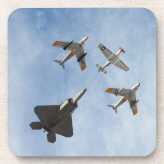 Heritage - P-51 Mustang F-86-F Saber F-22A Raptor Beverage Coaster