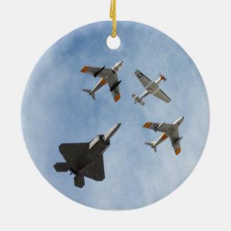 Heritage - P-51 Mustang,F-86-F Saber,F-22A Raptor Round Ceramic Decoration
