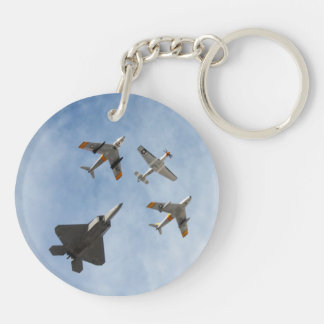 Heritage - P-51 Mustang,F-86-F Saber,F-22A Raptor Double-Sided Round Acrylic Key Ring