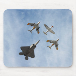 Heritage - P-51 Mustang F-86-F Saber F-22A Raptor Mouse Pad