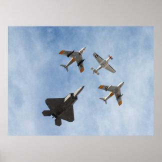 Heritage - P-51 Mustang,F-86-F Saber,F-22A Raptor Poster