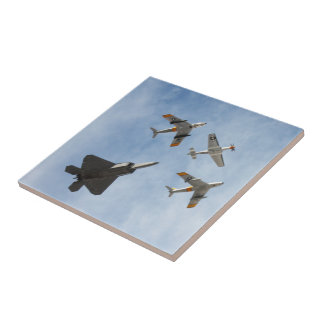 Heritage - P-51 Mustang,F-86-F Saber,F-22A Raptor Small Square Tile