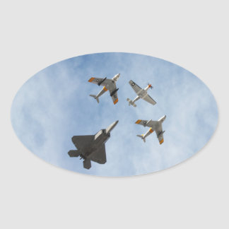 Heritage - P-51 Mustang,F-86-F Saber,F-22A Raptor Oval Sticker