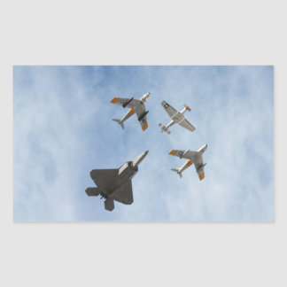 Heritage - P-51 Mustang,F-86-F Saber,F-22A Raptor Rectangular Sticker