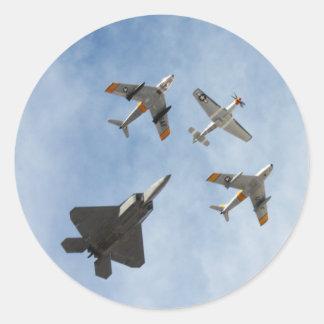 Heritage - P-51 Mustang,F-86-F Saber,F-22A Raptor Round Sticker