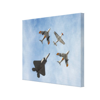 Heritage - P-51 Mustang,F-86-F Saber,F-22A Raptor Stretched Canvas Prints