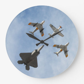 Heritage - P-51 Mustang,F-86-F Saber,F-22A Raptor Wall Clock
