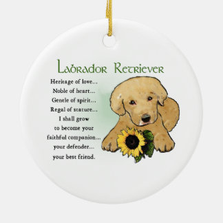 Heritage Yellow Lab Puppy Gifts Round Ceramic Decoration