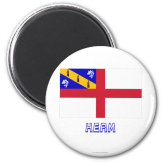 Herm Flag with Name 6 Cm Round Magnet
