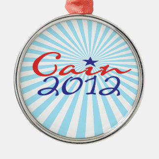 Herman Cain 2012 Silver-Colored Round Decoration