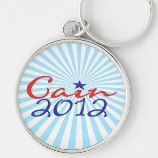 Herman Cain 2012 Silver-Colored Round Key Ring