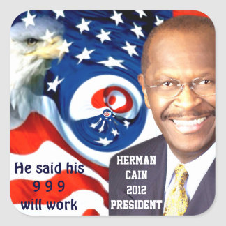 Herman Cain 2012_ Square Sticker