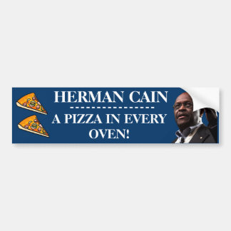 Herman Cain A Pizza In Every Oven-Blue Background Bumper Stickers