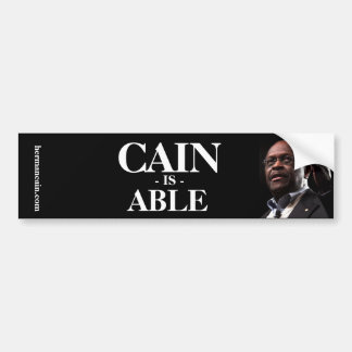 Herman Cain: Cain Is Able - Black Background Bumper Sticker