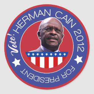Herman Cain for US President 2012 Round Sticker