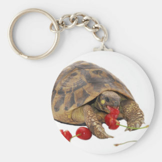 Hermann Tortoise and Strawberries Basic Round Button Key Ring