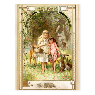 Hermann Vogel - Snow White and Rose Red Postcard