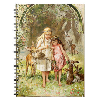 Hermann Vogel - Snow White and Rose Red Spiral Notebook