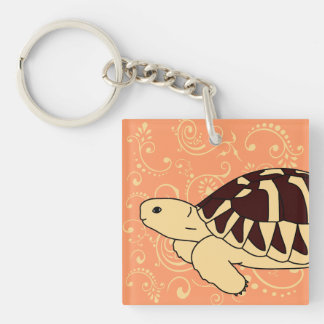 Hermann's Tortoise Keychain (orange swirl)