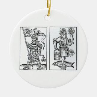 Hermensul or Irmensul (left) and Crodon (right) id Christmas Ornament