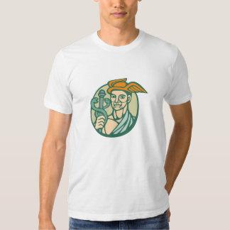 Hermes Holding Cadaceus Woodcut Linocut Tshirt