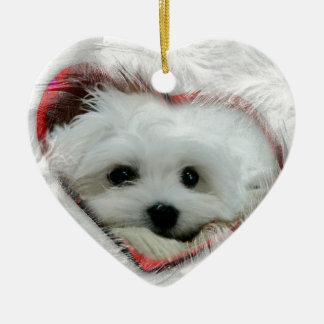 Hermes the Maltese Ceramic Heart Decoration