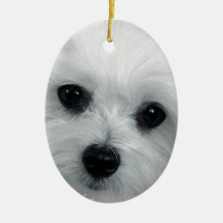 Hermes the Maltese Christmas Ornament