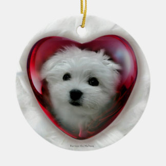 Hermes the Maltese Round Ceramic Decoration