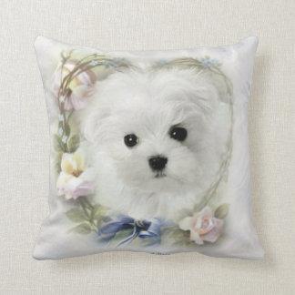 Hermes the Maltese Throw Pillow/Cushion Cushion