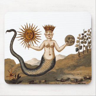 Hermetic Arts Merman Mouspad with sun and moon Mouse Mat