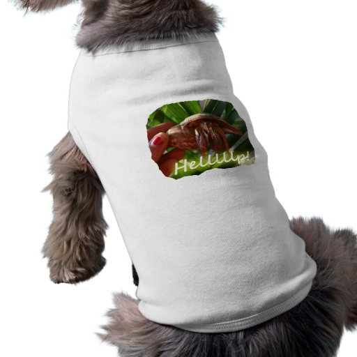 Hermit Crab and Help text , funny animal design Sleeveless Dog Shirt