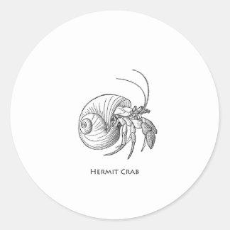 Hermit Crab Illustration (line art) Round Sticker