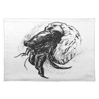 Hermit Crab in Black Place Mat