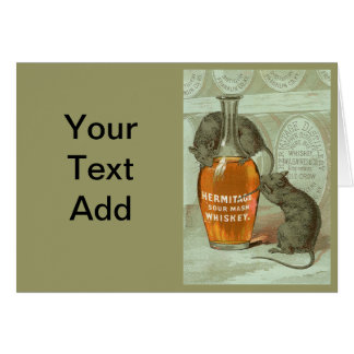 Hermitage Sour Mash Whiskey ad with two rats Card