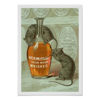 Hermitage Sour Mash Whiskey ad with two rats