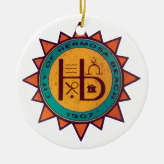 Hermosa Beach Seal Round Ceramic Decoration