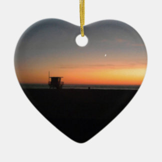 hermosa beach sunset christmas ornament