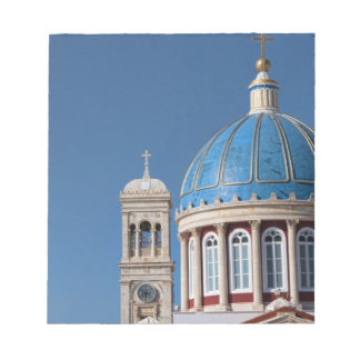 Hermoupolis, Syros Island, Greece. Blue dome of Notepad
