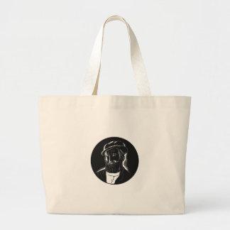 Hernan Cortes Conquistador Woodcut Large Tote Bag