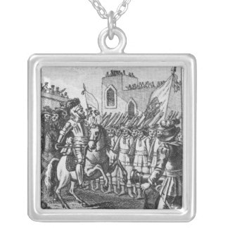 Hernando Cortes  Reviewing his Troops Silver Plated Necklace
