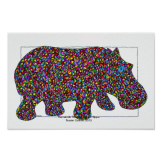 Hernando Stained Glass Hippo Poster