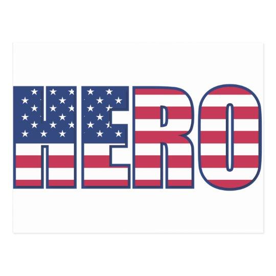 Hero American Flag Stars Stripes Red White Blue Postcard