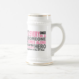 HERO COMES ALONG 1 Aunt BREAST CANCER T-Shirts Mugs