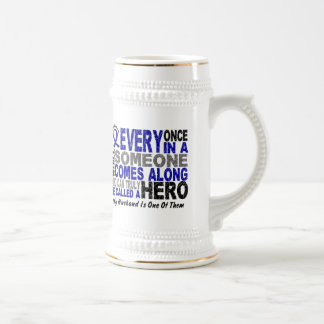HERO COMES ALONG 1 Husband COLON CANCER Beer Steins