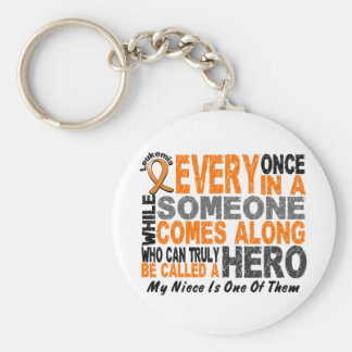 HERO COMES ALONG 1 Niece LEUKEMIA T-Shirts Basic Round Button Key Ring
