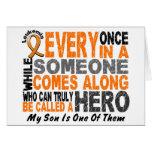 HERO COMES ALONG 1 Son LEUKEMIA T-Shirts Greeting Cards