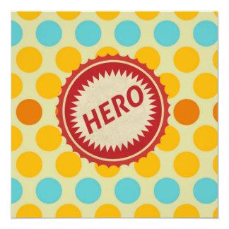 HERO Label on Polka Dot Pattern 13 Cm X 13 Cm Square Invitation Card