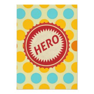 HERO Label on Polka Dot Pattern 13 Cm X 18 Cm Invitation Card
