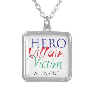 Hero Villain Victim - All in One Silver Plated Necklace